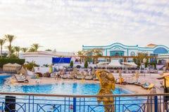 Sharm El Sheikh, Egypt - January 05, 2019: Tropical luxury Sultan Gardens Resort on Red Sea beach. Sharm El Sheikh, Egypt - January 05, 2019: Tropical luxury royalty free stock photo