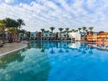 Sharm El Sheikh, Egypt - January 05, 2019: Tropical luxury Sultan Gardens Resort on Red Sea beach. Sharm El Sheikh, Egypt - January 05, 2019: Tropical luxury royalty free stock image