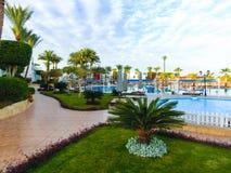 Sharm El Sheikh, Egypt - January 05, 2019: Tropical luxury Sultan Gardens Resort on Red Sea beach. Sharm El Sheikh, Egypt - January 05, 2019: Tropical luxury stock photography