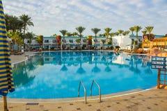 Sharm El Sheikh, Egypt - January 05, 2019: Tropical luxury Sultan Gardens Resort on Red Sea beach. Sharm El Sheikh, Egypt - January 05, 2019: Tropical luxury stock image