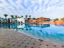 Sharm El Sheikh, Egypt - January 05, 2019: Tropical luxury Sultan Gardens Resort on Red Sea beach. Sharm El Sheikh, Egypt - January 05, 2019: Tropical luxury stock images
