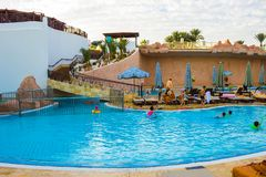 Sharm El Sheikh, Egypt - January 05, 2019: Tropical luxury Sultan Gardens Resort on Red Sea beach. Sharm El Sheikh, Egypt - January 05, 2019: Tropical luxury stock photo