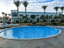 Sharm El Sheikh, Egypt - January 05, 2019: Tropical luxury Sultan Gardens Resort on Red Sea beach. Sharm El Sheikh, Egypt - January 05, 2019: Tropical luxury royalty free stock photos