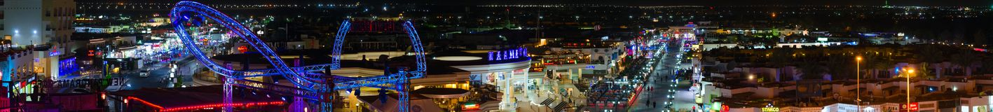 Beautiful evening panoramic view from above of popular area of Naama Bay, Sharm El Sheikh, Egypt. SHARM EL-SHEIKH, EGYPT - MAY 10, 2018: Beautiful evening royalty free stock image