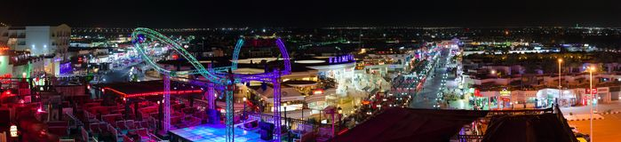 Beautiful evening panoramic view from above of popular shopping and entertainment district of Naama Bay, Sharm El Sheikh, Egypt. SHARM EL SHEIKH, EGYPT - MAY 10 Stock Photography