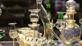 Sharm el-Sheikh, Egypt - November 29, 2016: Aromatic oil and perfume in Arabic Shop. Sharm el-Sheikh, Egypt - November 29, 2016: various glass products for stock video