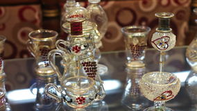 Sharm el-Sheikh, Egypt - November 29, 2016: Aromatic oil and perfume in Arabic Shop. Sharm el-Sheikh, Egypt - November 29, 2016: various glass products for stock video footage