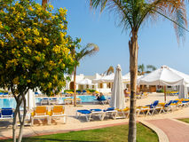 Sharm el Sheikh, Egypt - November 8, 2012: Luxury nice hotel swimming pool stock photos