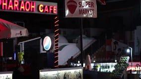 Sharm el-Sheikh, Egypt - November 29, 2016: View of the main shopping street Naama Bay at night in Sharm El Sheikh stock video