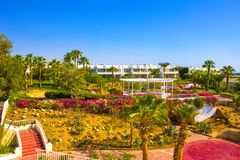 Sharm El Sheikh, Egypt - September 26, 2017: Buildings and Area Hotel Monter Carlo Resort Sharm El Sheikh. Sharm El Sheikh, Egypt - September 26, 2017: Buildings Stock Photo