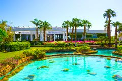 Sharm El Sheikh, Egypt - September 26, 2017: Buildings and Area Hotel Monter Carlo Resort Sharm El Sheikh. Sharm El Sheikh, Egypt - September 26, 2017: Buildings stock image