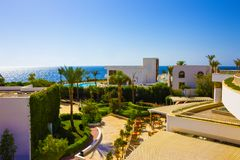 Sharm El Sheikh, Egypt - September 26, 2017: Buildings and Area Hotel Monter Carlo Resort Sharm El Sheikh. Sharm El Sheikh, Egypt - September 26, 2017: Buildings Stock Photos