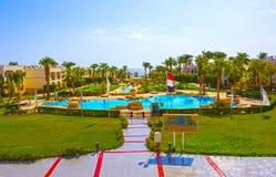 Sharm El Sheikh, Egypt - September 27, 2017: Buildings and Area Hotel at Otium Hotel Amphoras Sharm 5 at Sharm El Sheikh. Sharm El Sheikh, Egypt - September 27 stock image
