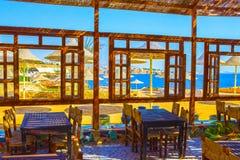 Sharm El Sheikh, Egypt - September 24, 2017: Outdoor restaurant and beach at the luxury hotel, Sharm el Sheikh, Egypt royalty free stock photography
