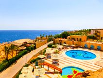 Sharm El Sheikh, Egypt - September 22, 2017: The view of luxury hotel Dreams Beach Resort Sharm 5 stars at day with blue. Sharm El Sheikh, Egypt - September 22 Stock Images