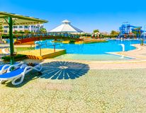 Sharm El Sheikh, Egypt - September 25, 2017: The view of luxury hotel Dreams Beach Resort Sharm 5 stars at day with blue Stock Images