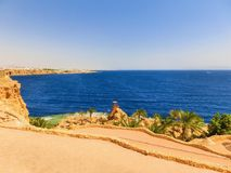 Sharm El Sheikh, Egypt - September 22, 2017: The view of luxury hotel Dreams Beach Resort Sharm 5 stars at day with blue. Sharm El Sheikh, Egypt - September 22 Royalty Free Stock Image