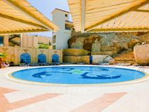 Sharm El Sheikh, Egypt - September 25, 2017: The view of luxury hotel Dreams Beach Resort Sharm 5 stars at day with blue Stock Photos