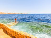 Sharm El Sheikh, Egypt - September 22, 2017: The view of luxury hotel Dreams Beach Resort Sharm 5 stars at day with blue. Sharm El Sheikh, Egypt - September 22 Royalty Free Stock Photos