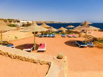 Sharm El Sheikh, Egypt - September 22, 2017: The view of luxury hotel Dreams Beach Resort Sharm 5 stars at day with blue. Sharm El Sheikh, Egypt - September 22 Royalty Free Stock Images