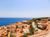 Sharm El Sheikh, Egypt - September 22, 2017: The view of luxury hotel Dreams Beach Resort Sharm 5 stars at day with blue. Sharm El Sheikh, Egypt - September 22 Stock Photography