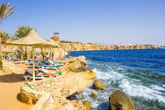 Sharm El Sheikh, Egypt - September 24, 2017: The view of luxury hotel Dreams Beach Resort Sharm 5 stars at day with blue Royalty Free Stock Image