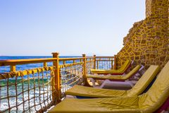 Sharm El Sheikh, Egypt - September 25, 2017: The view of luxury hotel Dreams Beach Resort Sharm 5 stars at day with blue Royalty Free Stock Images