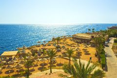 Sharm El Sheikh, Egypt - September 24, 2017: The view of luxury hotel Dreams Beach Resort Sharm 5 stars at day with blue. Sharm El Sheikh, Egypt - September 24 Stock Photography