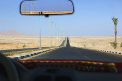 Sharm el Sheikh Egypt view through taxi windscreen Royalty Free Stock Photo