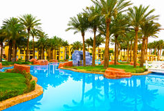 Sharm el Sheikh, Egypte - April 13, 2017: Luxe vijf sterrenhotel RIXOS SEAGATE SHARM Royalty-vrije Stock Afbeelding
