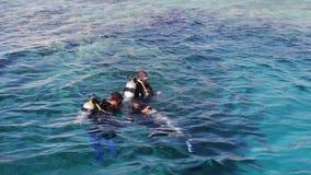 Sharm el-Sheikh, Egypte - December 6, 2016: de duikers in aqualong treffen om op de zeebedding te duiken voorbereidingen stock video