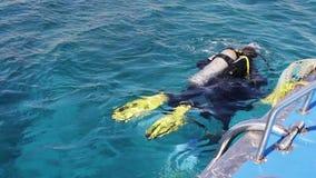 Sharm el-Sheikh, Egypte - December 6, 2016: de duikers in aqualong treffen om op de zeebedding te duiken voorbereidingen stock videobeelden