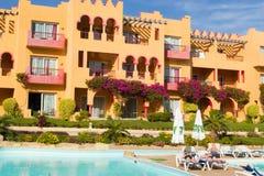 SHARM EL SHEIKH, EGYPTE - DECEMBER 15: De toeristen zijn op vakantie bij populair hotel op 15 December, 2014 in Sharm el Sheikh,  Royalty-vrije Stock Fotografie