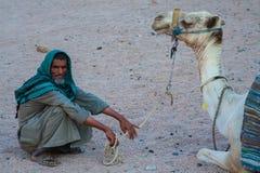 SHARM EL SHEIKH, EGYPTE - 9 JUILLET 2009 Le bédouin est un chameau dans le désert Image libre de droits