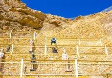 Sharm el Sheikh, Egypte - September 24, 2017: De mening van luxehotel droomt de Strandtoevlucht Sharm 5 bij dag met blauw meespee Stock Afbeelding
