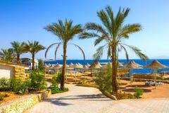 Sharm el Sheikh, Egypte - September 24, 2017: De mening van luxehotel droomt de Strandtoevlucht Sharm 5 bij dag met blauw meespee Royalty-vrije Stock Foto's