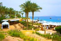 Sharm el Sheikh Egypten - April 11, 2017: Byggnader och områdeshotell fyra säsongsemesterortSharm el Sheikh Royaltyfri Foto