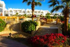 Sharm el-Sheikh Egypten - mars 14, 2018 Borggårdarna av ett storartat vitt hotell på en sommardag royaltyfri bild