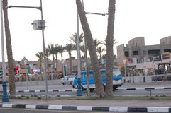 Sharm el sheikh street blue taxi royalty free stock photo