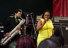 Sharon Jones & the Dap Kings at SXSW. Sharon Jones was recently interviewed by Terry Gross on the NPR radio program Fresh Air. She has a new record release: I Stock Image