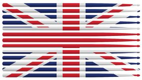 United Kingdom drummer flag with red, white and blue striped drum sticks isolated vector illustration royalty free stock image