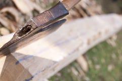 Sharp axe and handmade bearer Royalty Free Stock Photos