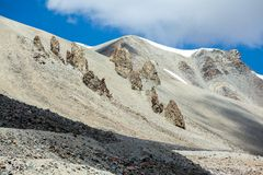 Sharp bald rocks in Tien Shan mountain range Royalty Free Stock Photography