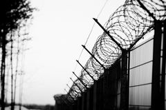 Sharp barbed wire on fence Royalty Free Stock Photos