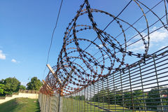 Sharp barbed wire on security fence protecti secure private spac. E within open space Royalty Free Stock Images