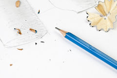 Sharp blue pencil Royalty Free Stock Photo