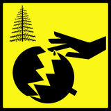 Sharp Broken Christmas Tree Ornament Sign. A sharp broken christmas tree ornament warning sign. Isolated black and yellow. I have designed and created the sign Stock Photos