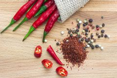 Sharp Chile pepper on a wood background stock photos