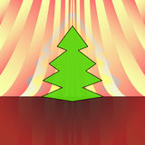 Sharp christmas tree on red curtain Royalty Free Stock Image