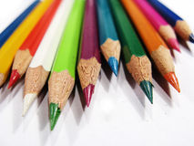 Sharp Colored Pencils. Newly sharpened colored pencils facing forward Royalty Free Stock Image